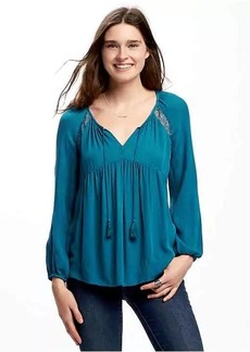 Old Navy Lace-Trim Crinkle-Gauze Swing Blouse for Women