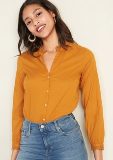 Old Navy Lace-Trim Split-Neck Shirt for Women
