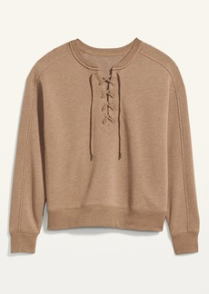Old Navy Lace-Up Crew-Neck Sweatshirt for Women