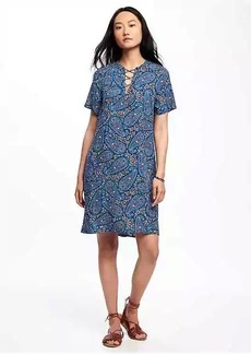 Lace-Up Shift Dress for Women