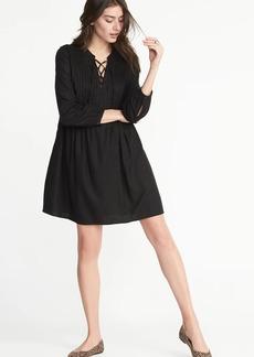 Lace-Up-Yoke Pintuck Swing Dress for Women