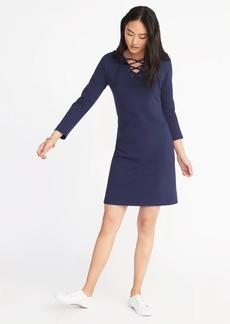 Lace-Up-Yoke Shift Dress for Women