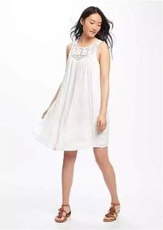 Lace-Yoke Crinkle-Gauze Swing Dress for Women