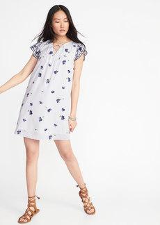 Lace-Yoke Cutwork-Sleeve Swing Dress for Women