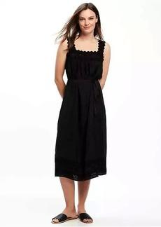 Lace-Yoke Tie-Waist Dress for Women