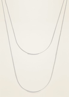 Old Navy Layered Silver-Toned Metal Cord Necklace for Women