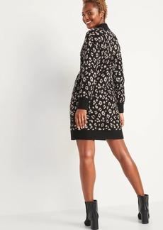 Old Navy Leopard-Print Mock-Neck Sweater Shift Dress for Women