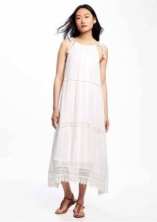 Lightweight Crochet-Trim Swing Dress for Women