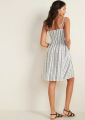 Old Navy Linen-Blend Button-Front Fit & Flare Cami Dress for Women