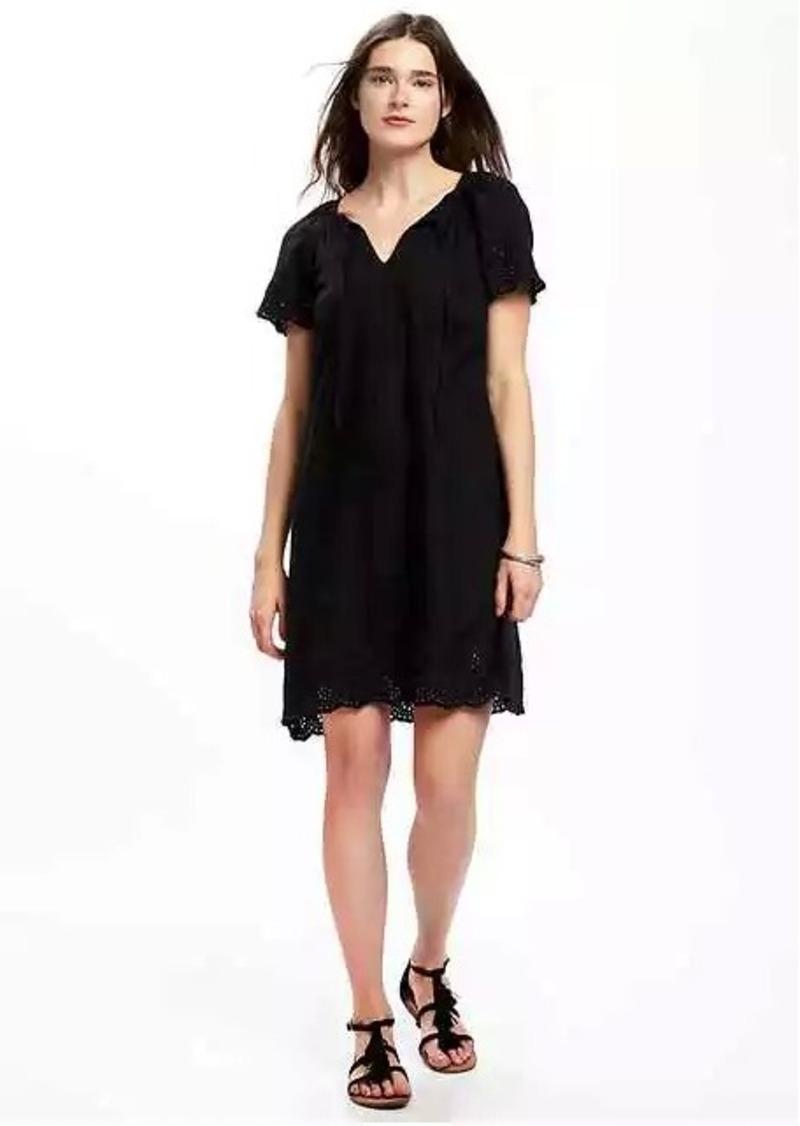 209c0a732fb Old Navy Linen-Blend Cutwork-Embellished Shift Dress for Women