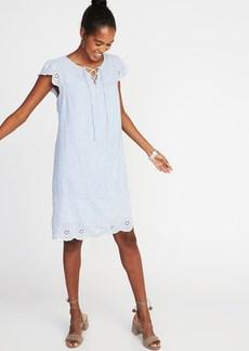 Linen-Blend Cutwork Swing Dress for Women