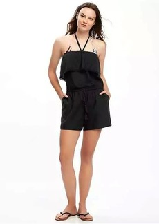 Linen-Blend Halter Swim Romper for Women