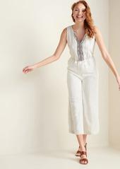 Old Navy Linen-Blend Pinstripe Sleeveless Jumpsuit for Women