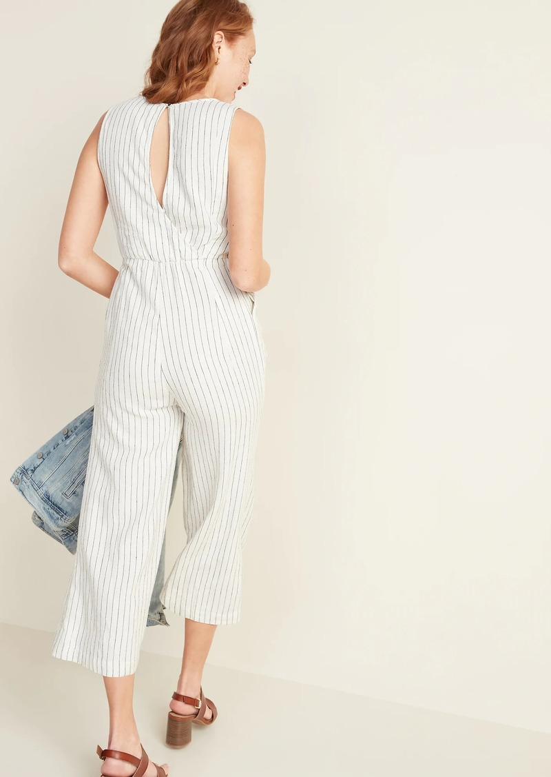 Old Navy Linen-Blend Pinstripe Sleeveless Jumpsuit for Women