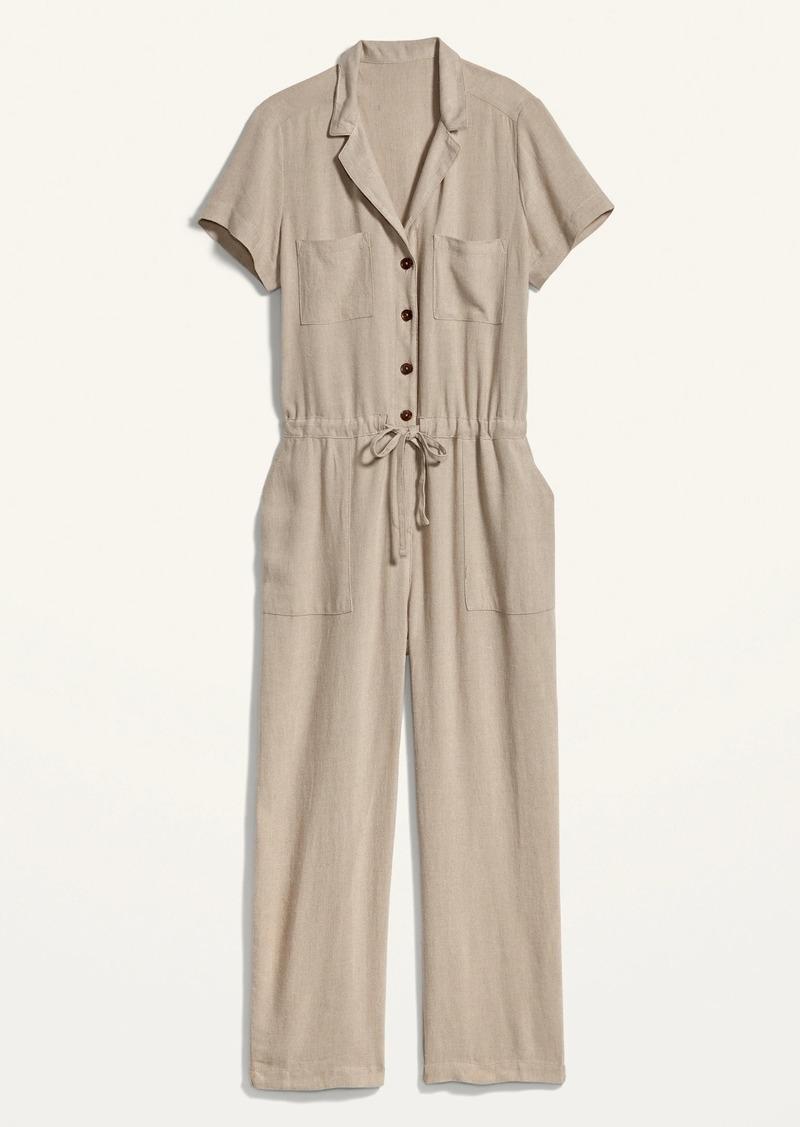 Linen-Blend Tie-Front Utility Jumpsuit for Women