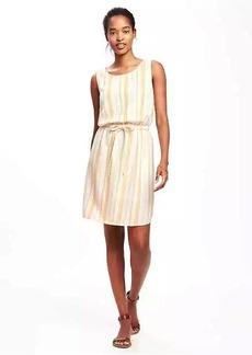 Linen-Blend Tie-Waist Dress for Women
