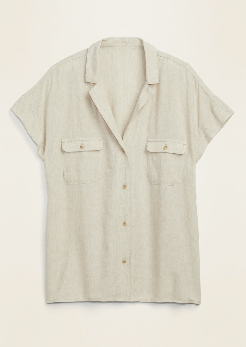Linen-Blend Utility Short-Sleeve Shirt for Women