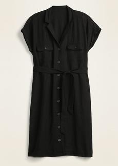 Old Navy Waist-Defined Linen-Blend Tie-Belt Shirt Dress for Women