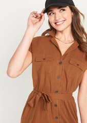 Old Navy Waist-Defined Linen-Blend Tie-Belt Shirt Dress for Women