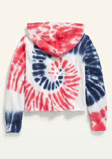 Old Navy Logo-Graphic Raw-Edged Cropped Hoodie for Girls