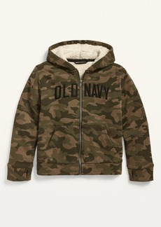 Old Navy Logo-Graphic Sherpa-Lined Zip Hoodie for Boys