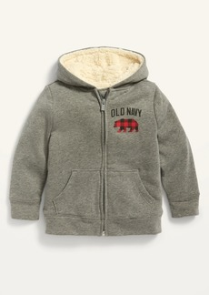 Old Navy Unisex Logo-Graphic Sherpa-Lined Zip Hoodie for Toddler