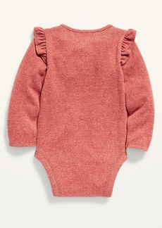 Old Navy Unisex Long-Sleeve Plush-Knit Ruffle-Trim Bodysuit for Baby