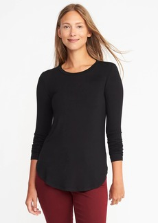 Old Navy Luxe Curved-Hem Crew-Neck Tee for Women