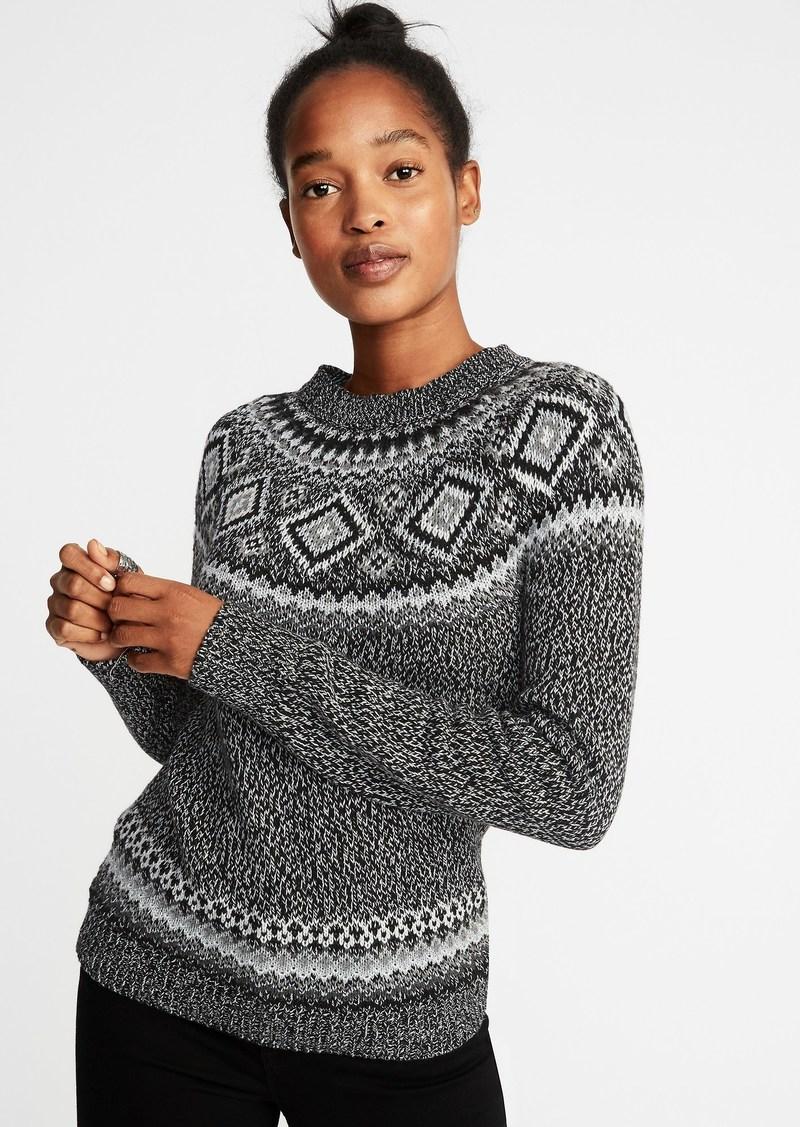 Sale Old Navy Metallic Fair Isle Sweater For Women