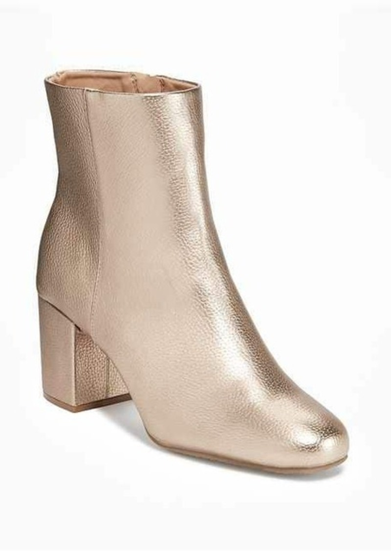 price remains stable well known another chance Metallic Faux-Leather Block-Heel Boots for Women