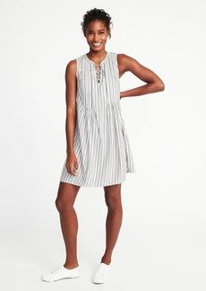 Metallic-Stripe Pintuck Swing Dress for Women