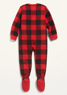 Old Navy Micro Fleece Plaid Footie Pajama One-Piece for Toddler & Baby