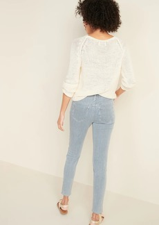 Old Navy Mid-Rise Button-Fly Railroad-Stripe Rockstar Super Skinny Jeans for Women