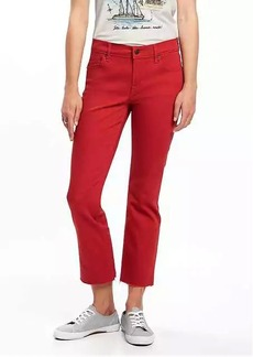 Mid-Rise Cropped Flare Ankle Jeans for Women