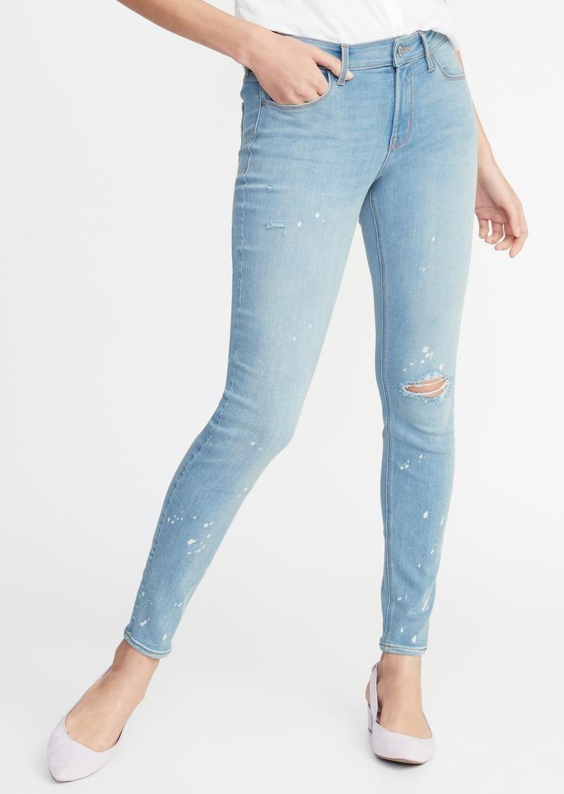 3166705273b Old Navy Mid-Rise Distressed Bleach-Spot Rockstar Super Skinny Jeans for  Women