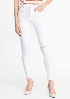 Old Navy Mid-Rise Distressed Rockstar White Jeans for Women