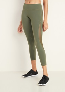 Old Navy Mid-Rise Elevate 7/8-Length Mesh-Panel Compression Leggings for Women