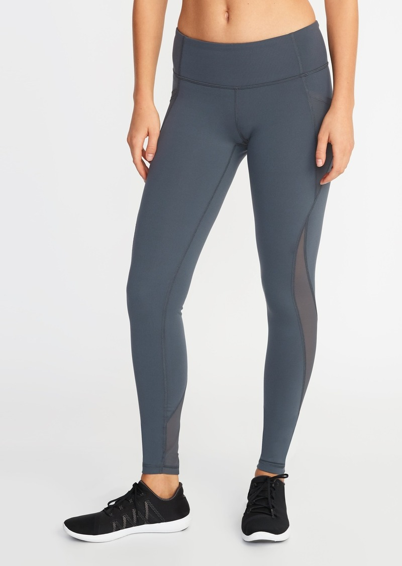 37b7760dbbefd Old Navy Mid-Rise Elevate Side-Pocket Mesh-Trim Compression Leggings for  Women