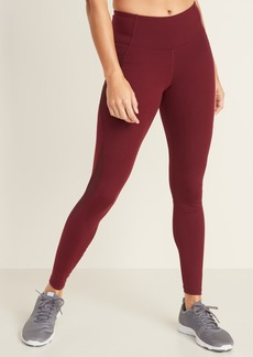 Old Navy Mid-Rise Elevate Side-Pocket Mesh-Trim Compression Leggings for Women