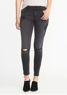Mid-Rise Embroidered Rockstar Jeans for Women