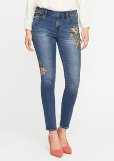Mid-Rise Floral-Embroidered Rockstar Jeans for Women