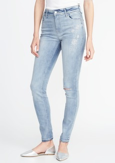 Mid-Rise Floral-Embroidered Rockstar Super Skinny Jeans for Women