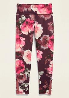 Old Navy Mid-Rise Go-Dry Elevate 7/8-Length Mesh-Trim Floral Leggings for Girls