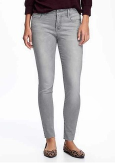 Mid-Rise Grey-Wash Raw-Hem Rockstar Jeans for Women