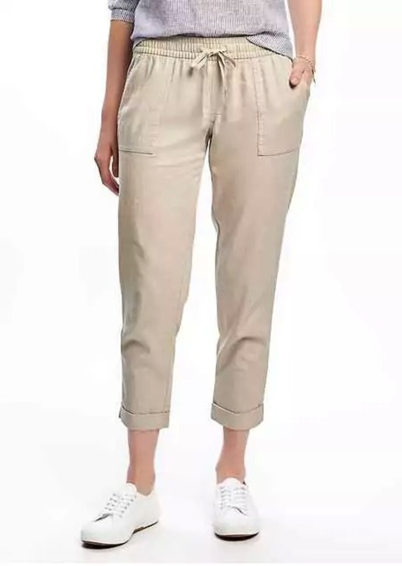 customers first moderate price best sell Old Navy Mid-Rise Linen-Blend Cropped Pants for Women | Casual Pants