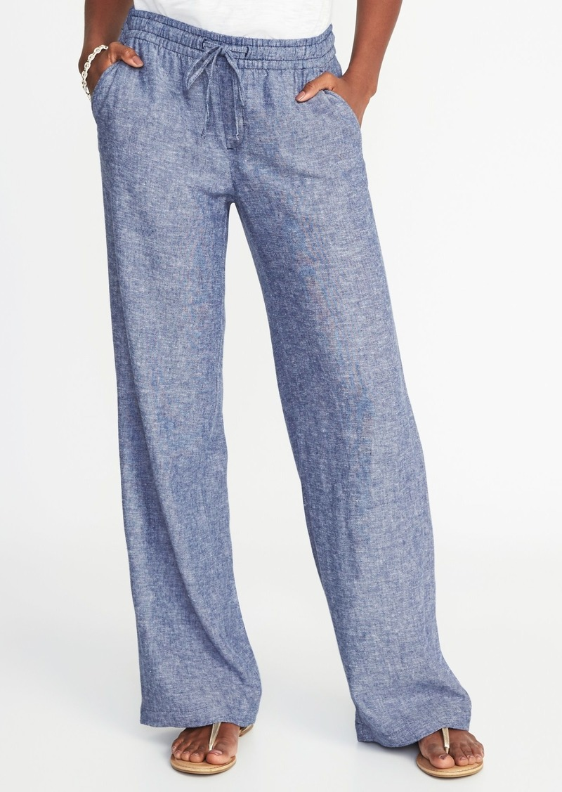ca2ca9b5002c Old Navy Mid-Rise Linen-Blend Wide-Leg Pants for Women