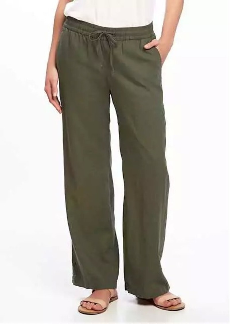 941a5f01f198d Old Navy Mid-Rise Linen-Blend Wide-Leg Pants for Women Now $24.97