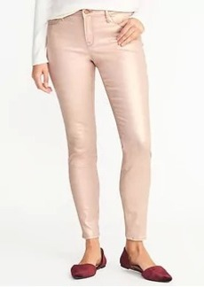 Mid-Rise Metallic-Coated Rockstar Jeans for Women
