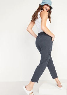 Old Navy Mid-Rise Pinstriped Linen-Blend Cargo Pants for Women