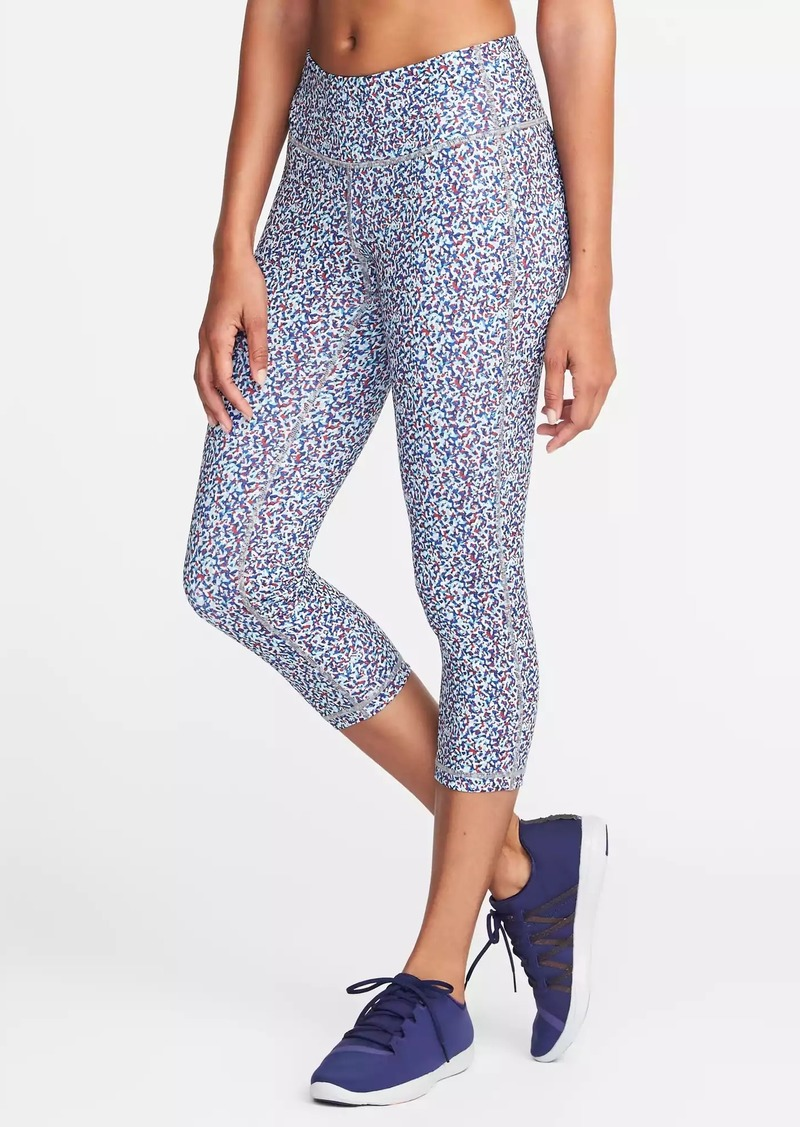 59d07f7353 Old Navy Mid-Rise Printed Compression Crops for Women | Athletic Pants